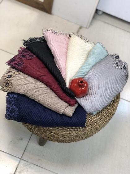روسری پلیسه دور گیپوری کد0296